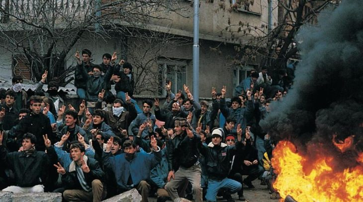 Albanian nationalists in Kosovo in 1990