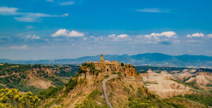 The small village of Civita di Bagnoregio in the province of Viterbo in Lazio was founded by the Etruscans 2500 years ago.