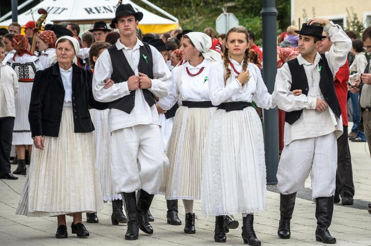 Croats in traditional folk costumes