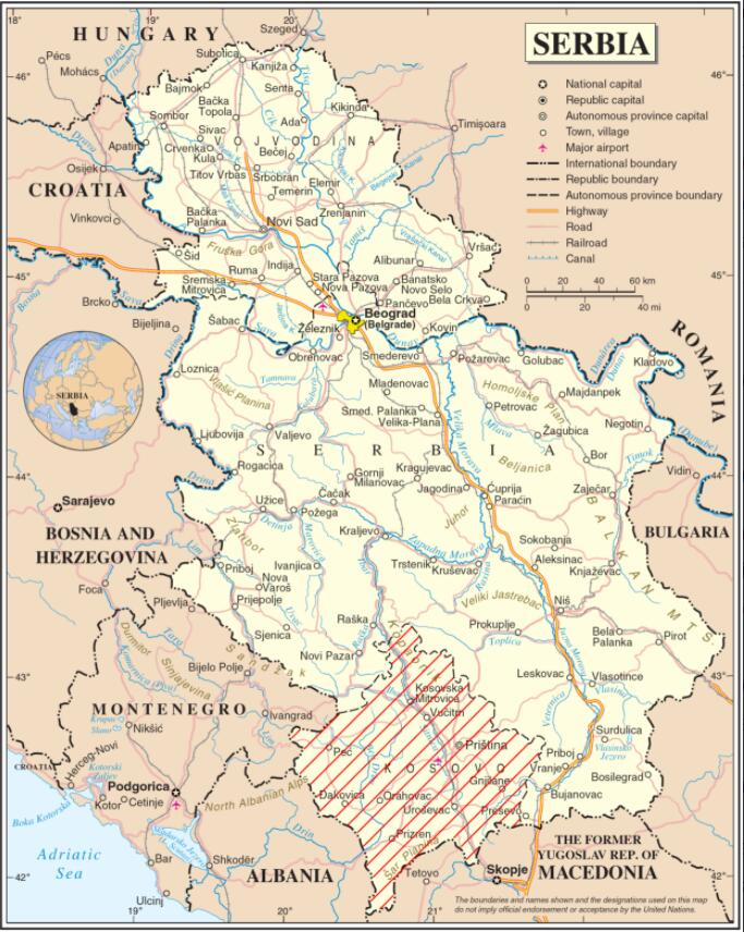 geographic map of Serbia