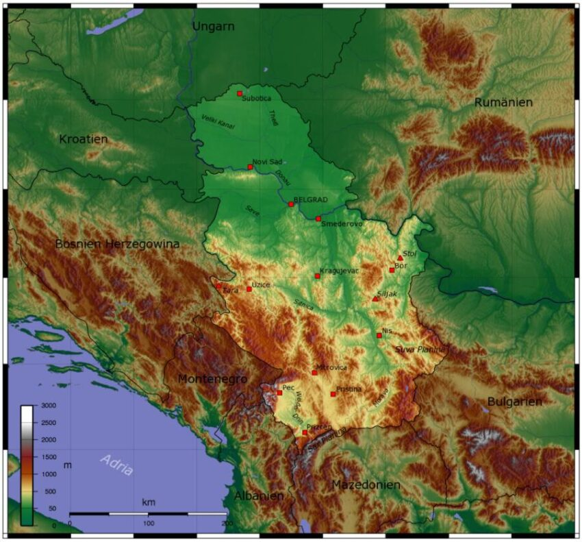 topographic map of Serbia